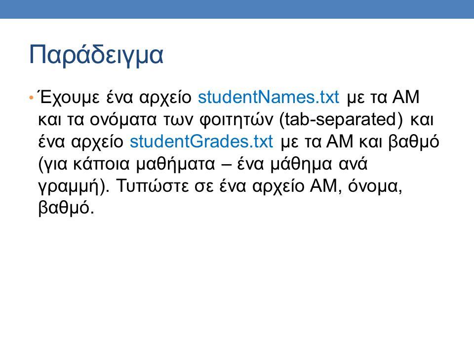 Παράδειγμα Έχουμε ένα αρχείο studentNames.txt με τα ΑΜ και τα ονόματα των φοιτητών (tab-separated) και ένα αρχείο studentGrades.txt με τα ΑΜ και βαθμό (για κάποια μαθήματα – ένα μάθημα ανά γραμμή).