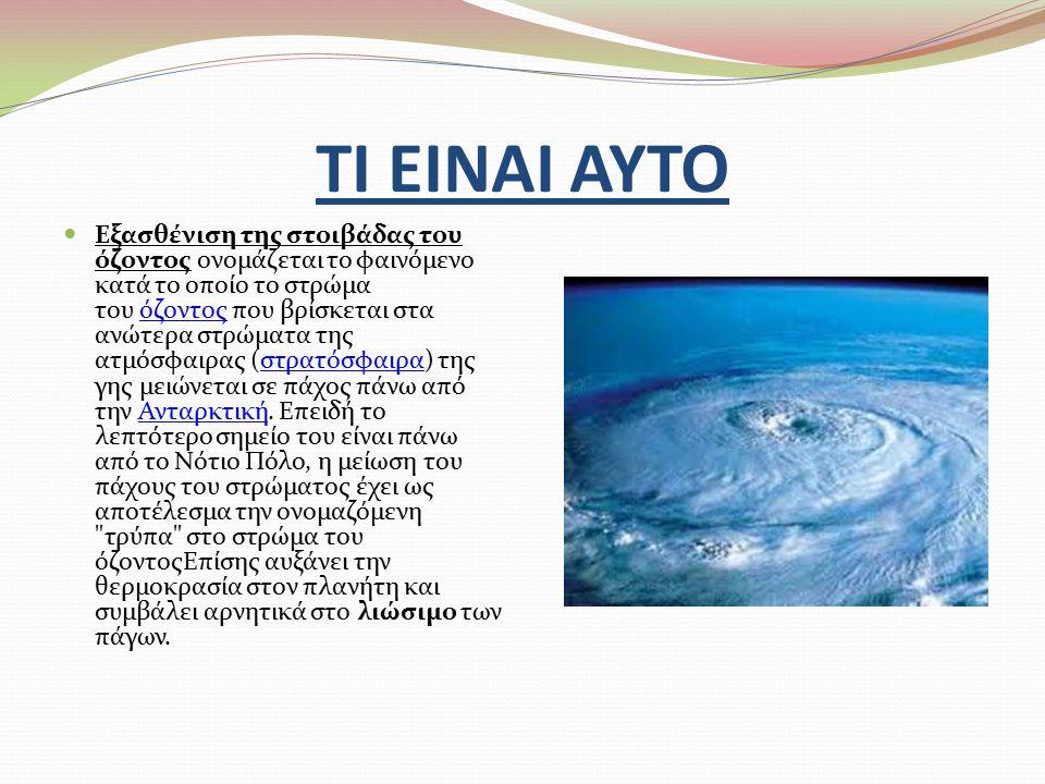 ΤΙ ΕΙΝΑΙ ΑΥΤΟ Εξασθένιση της στοιβάδας του όζοντος ονομάζεται το φαινόμενο κατά το οποίο το στρώμα του όζοντος που βρίσκεται στα ανώτερα στρώματα της