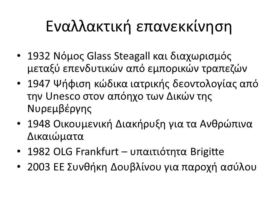 Εναλλακτική επανεκκίνηση 1932 Νόμος Glass Steagall και διαχωρισμός μεταξύ επενδυτικών από εμπορικών τραπεζών 1947 Ψήφιση κώδικα ιατρικής δεοντολογίας από την Unesco στον απόηχο των Δικών της Νυρεμβέργης 1948 Οικουμενική Διακήρυξη για τα Ανθρώπινα Δικαιώματα 1982 OLG Frankfurt – υπαιτιότητα Brigitte 2003 ΕΕ Συνθήκη Δουβλίνου για παροχή ασύλου