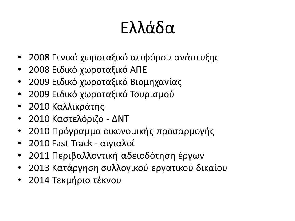 Ελλάδα 2008 Γενικό χωροταξικό αειφόρου ανάπτυξης 2008 Ειδικό χωροταξικό ΑΠΕ 2009 Ειδικό χωροταξικό Βιομηχανίας 2009 Ειδικό χωροταξικό Τουρισμού 2010 Καλλικράτης 2010 Καστελόριζο - ΔΝΤ 2010 Πρόγραμμα οικονομικής προσαρμογής 2010 Fast Track - αιγιαλοί 2011 Περιβαλλοντική αδειοδότηση έργων 2013 Κατάργηση συλλογικού εργατικού δικαίου 2014 Τεκμήριο τέκνου