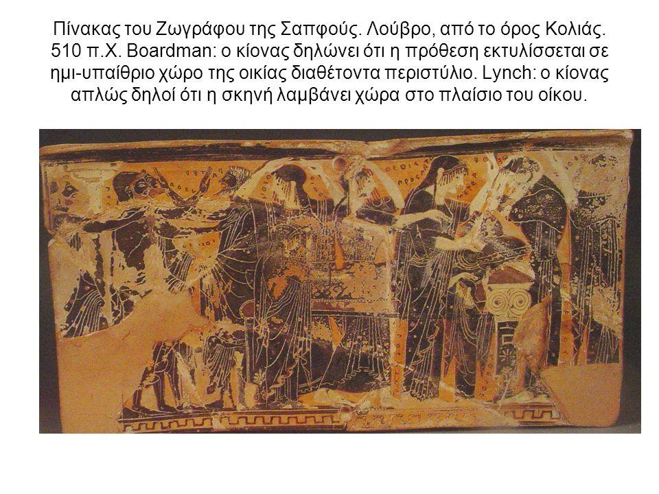 Πίνακας του Ζωγράφου της Σαπφούς. Λούβρο, από το όρος Κολιάς. 510 π.Χ. Boardman: ο κίονας δηλώνει ότι η πρόθεση εκτυλίσσεται σε ημι-υπαίθριο χώρο της