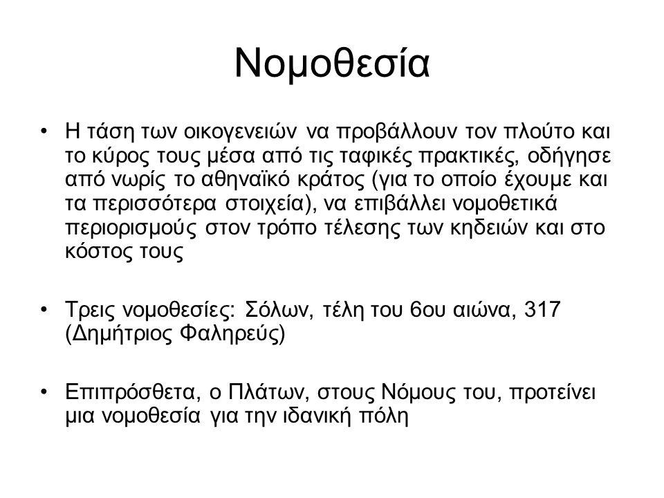 Νομοθεσία Η τάση των οικογενειών να προβάλλουν τον πλούτο και το κύρος τους μέσα από τις ταφικές πρακτικές, οδήγησε από νωρίς το αθηναϊκό κράτος (για