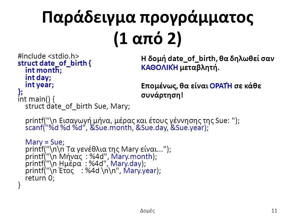 Παράδειγμα προγράμματος (1 από 2) Η δομή date_of_birth, θα δηλωθεί σαν ΚΑΘΟΛΙΚΉ μεταβλητή.