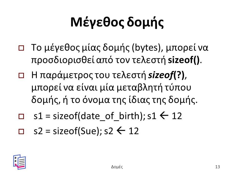 Μέγεθος δομής  Το μέγεθος μίας δομής (bytes), μπορεί να προσδιορισθεί από τον τελεστή sizeof().