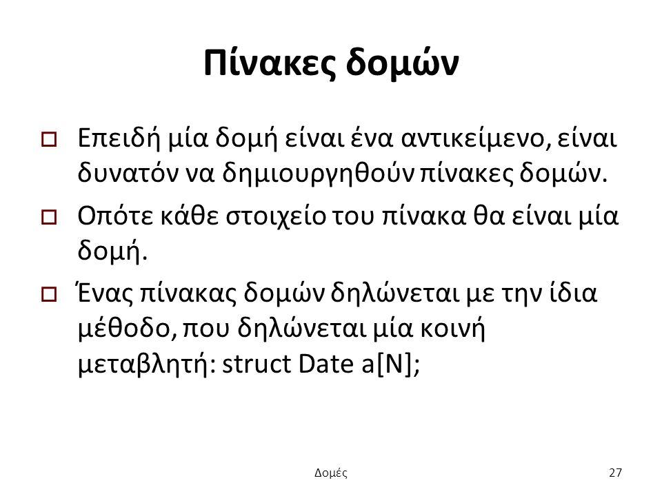 Πίνακες δομών  Επειδή μία δομή είναι ένα αντικείμενο, είναι δυνατόν να δημιουργηθούν πίνακες δομών.