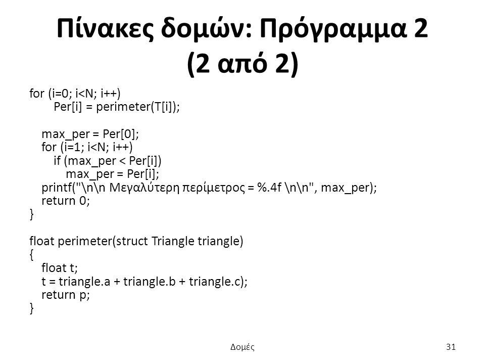 Πίνακες δομών: Πρόγραμμα 2 (2 από 2) for (i=0; i<N; i++) Per[i] = perimeter(T[i]); max_per = Per[0]; for (i=1; i<N; i++) if (max_per < Per[i]) max_per = Per[i]; printf( \n\n Μεγαλύτερη περίμετρος = %.4f \n\n , max_per); return 0; } float perimeter(struct Triangle triangle) { float t; t = triangle.a + triangle.b + triangle.c); return p; } Δομές31