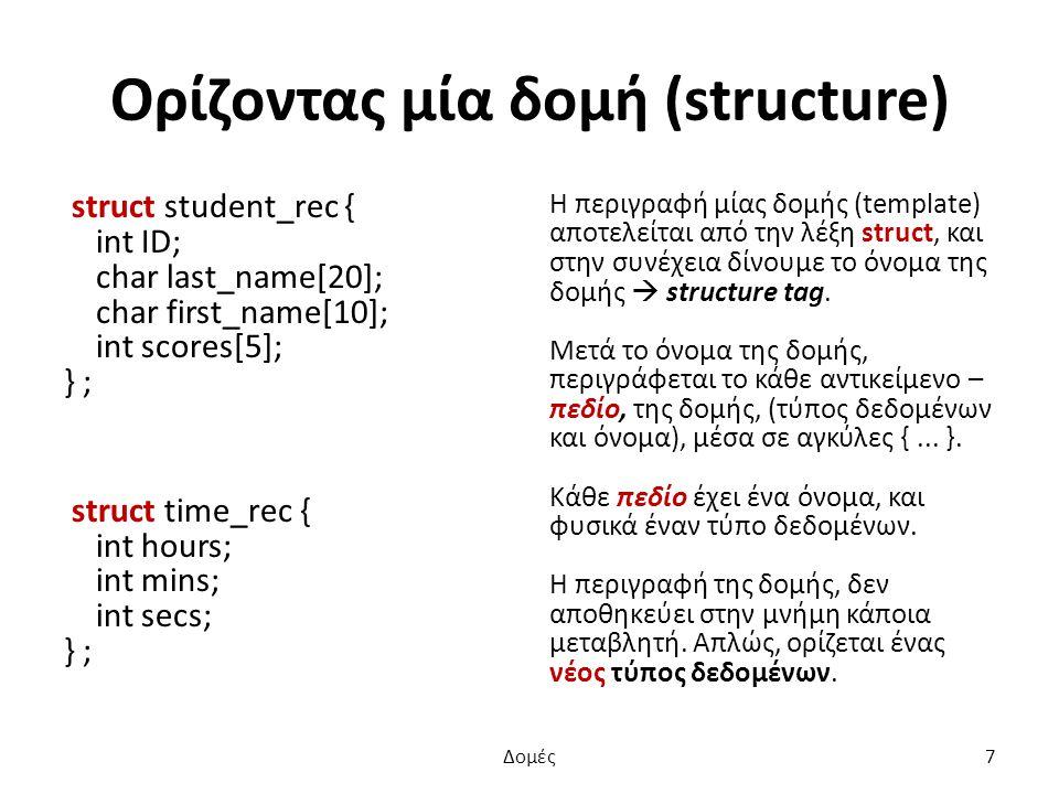 Ορίζοντας μία δομή (structure) struct student_rec { int ID; char last_name[20]; char first_name[10]; int scores[5]; } ; struct time_rec { int hours; int mins; int secs; } ; Η περιγραφή μίας δομής (template) αποτελείται από την λέξη struct, και στην συνέχεια δίνουμε το όνομα της δομής  structure tag.