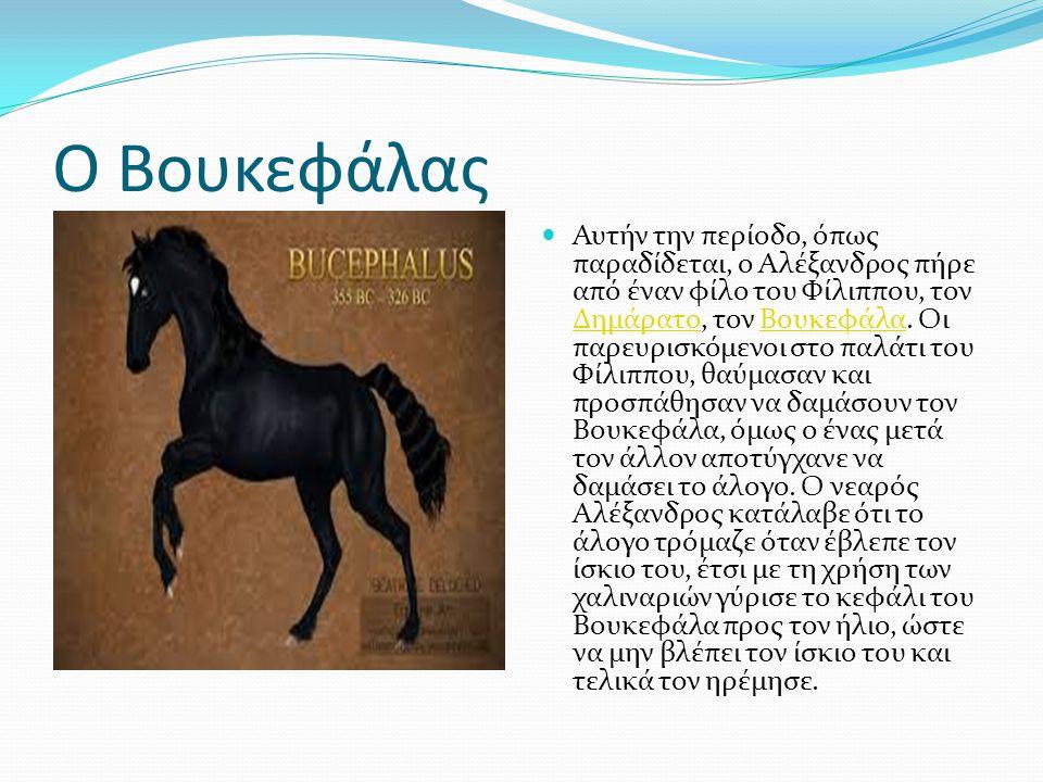 Ο Βουκεφάλας Αυτήν την περίοδο, όπως παραδίδεται, ο Αλέξανδρος πήρε από έναν φίλο του Φίλιππου, τον Δημάρατο, τον Βουκεφάλα.