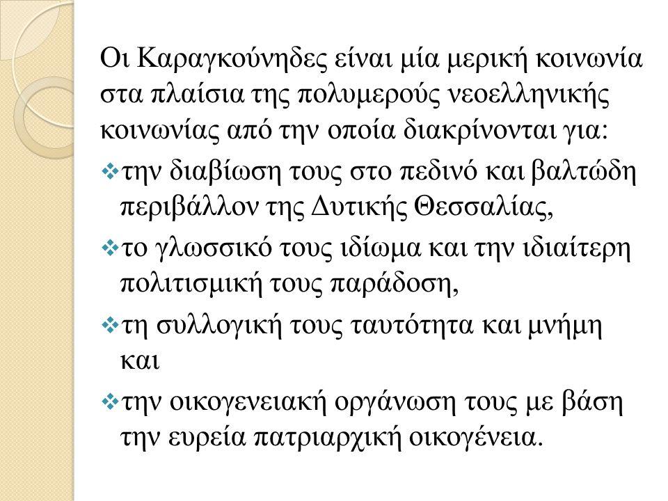 Οι Καραγκούνηδες είναι μία μερική κοινωνία στα πλαίσια της πολυμερούς νεοελληνικής κοινωνίας από την οποία διακρίνονται για:  την διαβίωση τους στο πεδινό και βαλτώδη περιβάλλον της Δυτικής Θεσσαλίας,  το γλωσσικό τους ιδίωμα και την ιδιαίτερη πολιτισμική τους παράδοση,  τη συλλογική τους ταυτότητα και μνήμη και  την οικογενειακή οργάνωση τους με βάση την ευρεία πατριαρχική οικογένεια.