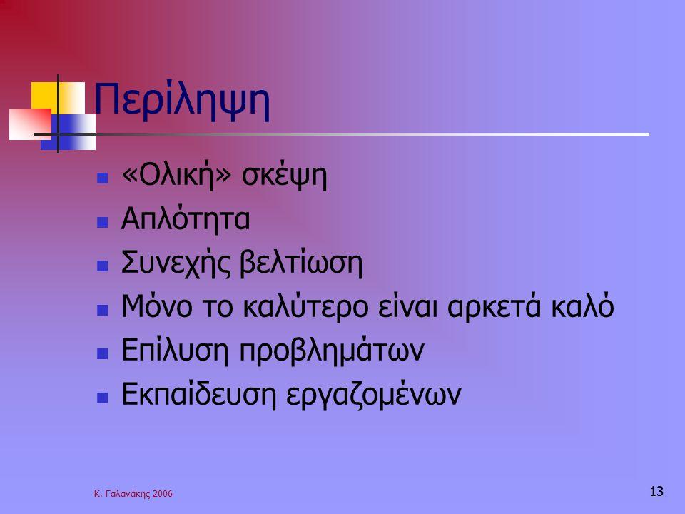 Κ. Γαλανάκης 2006 13 Περίληψη «Ολική» σκέψη Απλότητα Συνεχής βελτίωση Μόνο το καλύτερο είναι αρκετά καλό Επίλυση προβλημάτων Εκπαίδευση εργαζομένων