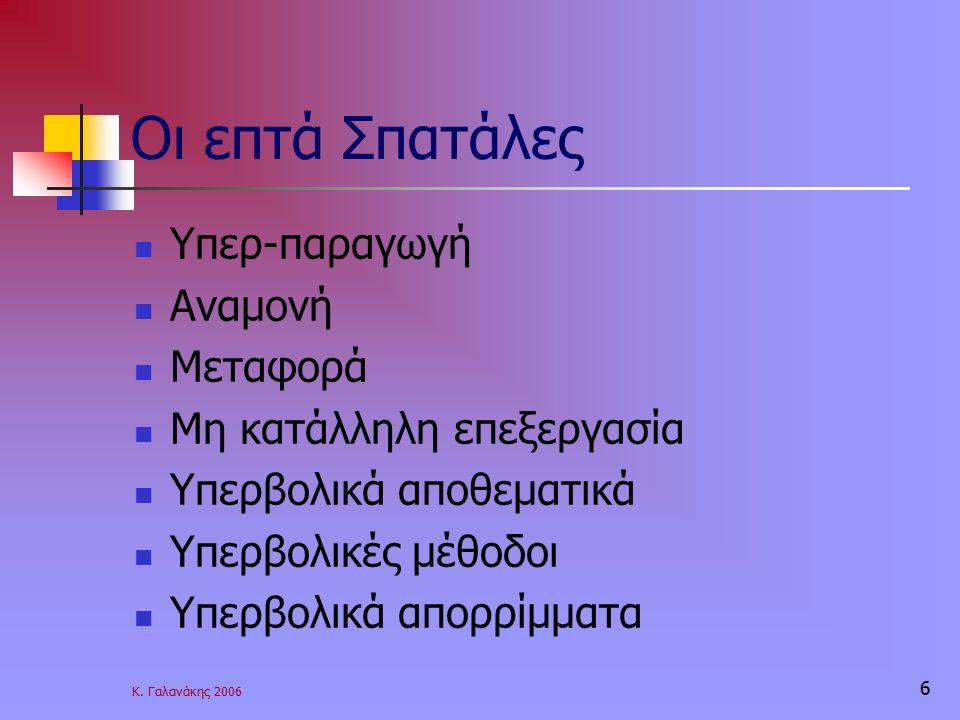 Κ. Γαλανάκης 2006 6 Οι επτά Σπατάλες Υπερ-παραγωγή Αναμονή Μεταφορά Μη κατάλληλη επεξεργασία Υπερβολικά αποθεματικά Υπερβολικές μέθοδοι Υπερβολικά απο