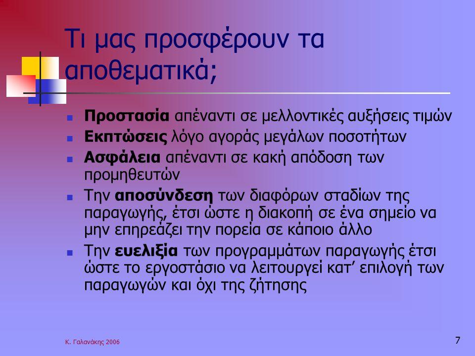 Κ. Γαλανάκης 2006 7 Τι μας προσφέρουν τα αποθεματικά; Προστασία απέναντι σε μελλοντικές αυξήσεις τιμών Εκπτώσεις λόγο αγοράς μεγάλων ποσοτήτων Ασφάλει