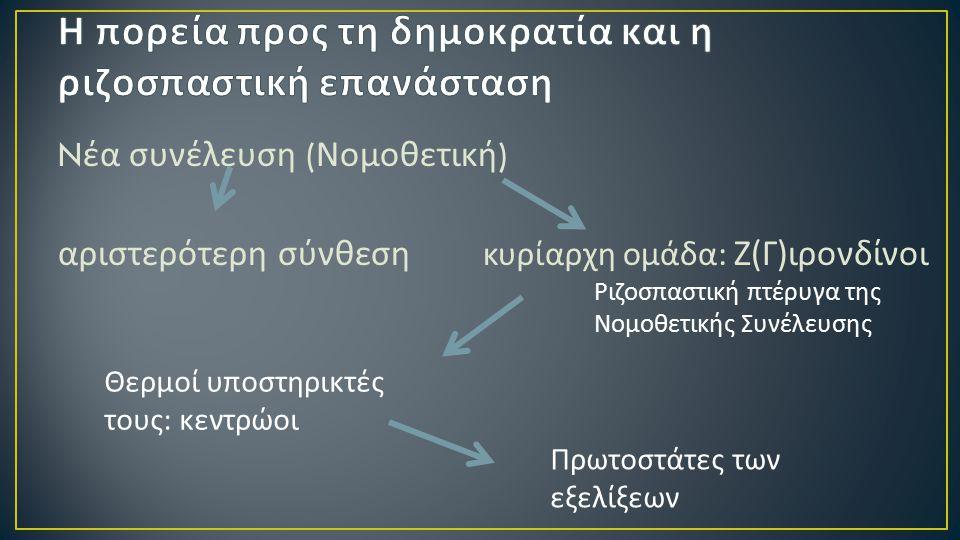 N έα συνέλευση ( Νομοθετική ) αριστερότερη σύνθεση κυρίαρχη ομάδα : Ζ ( Γ ) ιρονδίνοι Ριζοσπαστική πτέρυγα της Νομοθετικής Συνέλευσης Θερμοί υποστηρικ