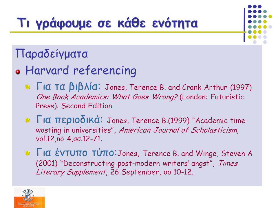 Τι γράφουμε σε κάθε ενότητα Παραδείγματα Harvard referencing Για τα βιβλία: Jones, Terence B.