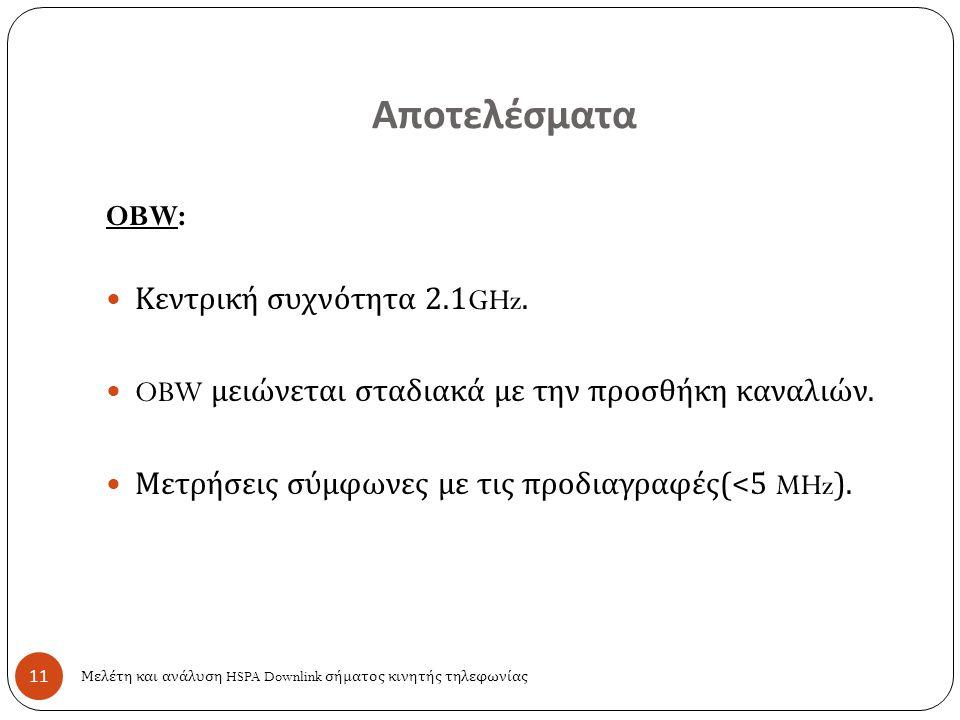 Αποτελέσματα 11 OBW: Κεντρική συχνότητα 2.1GHz. OBW μειώνεται σταδιακά με την προσθήκη καναλιών. Μετρήσεις σύμφωνες με τις προδιαγραφές (<5 MHz). Μελέ