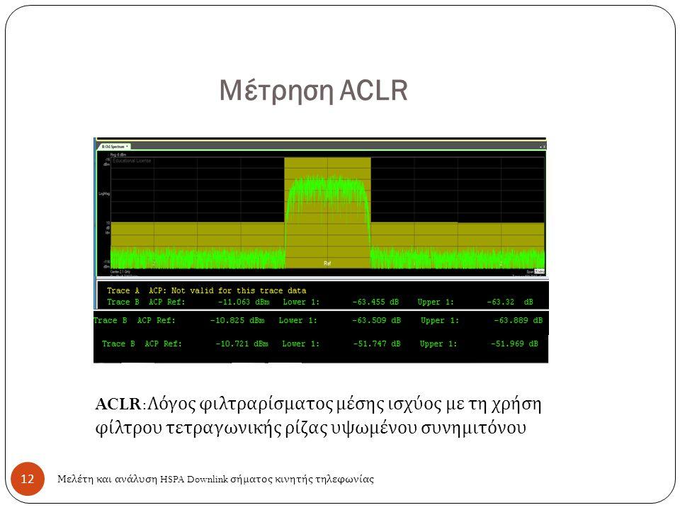 12 Μέτρηση ACLR Μελέτη και ανάλυση HSPA Downlink σήματος κινητής τηλεφωνίας ACLR: Λόγος φιλτραρίσματος μέσης ισχύος με τη χρήση φίλτρου τετραγωνικής ρίζας υψωμένου συνημιτόνου