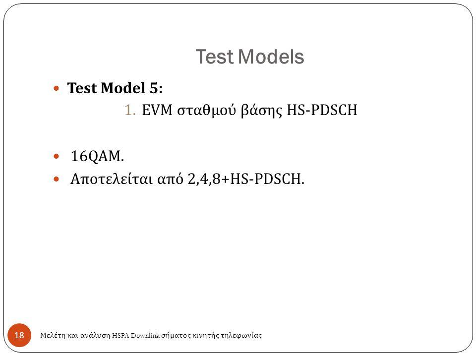 Test Models 18 Test Model 5: 1.EVM σταθμού βάσης HS-PDSCH 16QAM. Αποτελείται από 2,4,8+HS-PDSCH. Μελέτη και ανάλυση HSPA Downlink σήματος κινητής τηλε