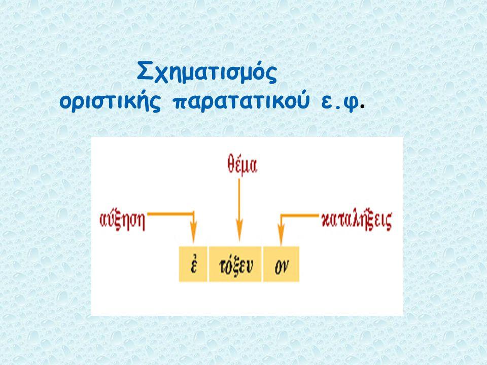 Σχηματισμός οριστικής παρατατικού ε.φ.