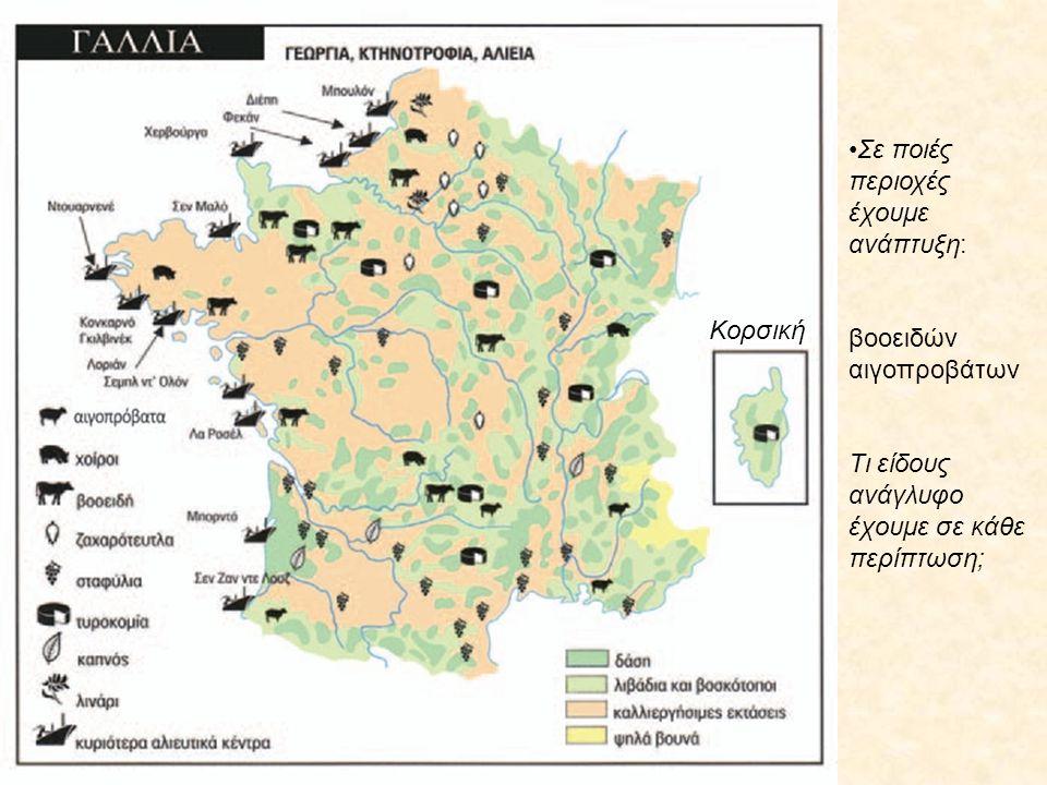 Σε ποιές περιοχές έχουμε ανάπτυξη: βοοειδών αιγοπροβάτων Τι είδους ανάγλυφο έχουμε σε κάθε περίπτωση; Κορσική