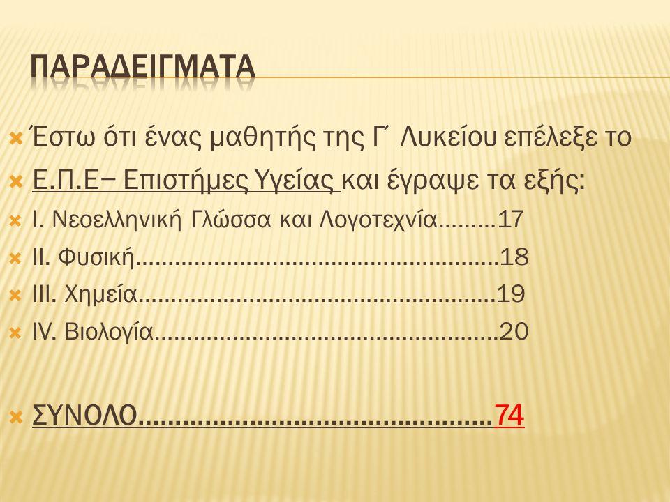  Έστω ότι ένας μαθητής της Γ΄Λυκείου επέλεξε το  Ε.Π.Ε− Επιστήμες Υγείας και έγραψε τα εξής:  I. Νεοελληνική Γλώσσα και Λογοτεχνία………17  II. Φυσικ