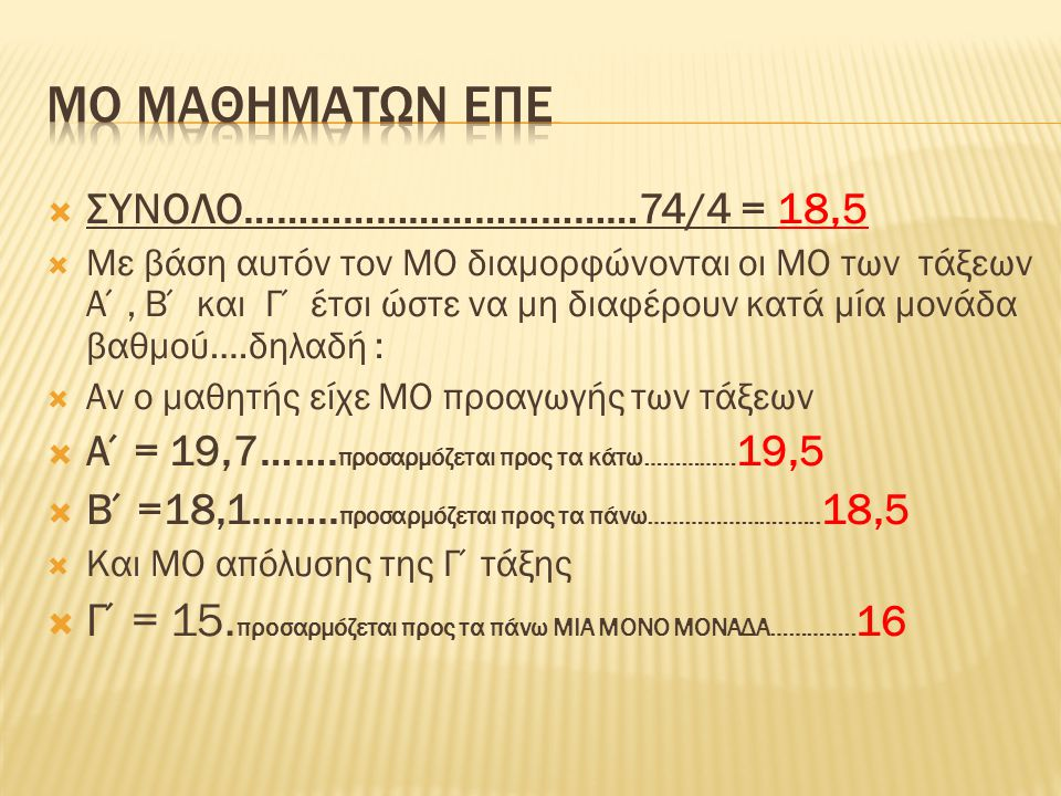 ΣΥΝΟΛΟ………………………………74/4 = 18,5  Με βάση αυτόν τον ΜΟ διαμορφώνονται οι ΜΟ των τάξεων Α΄, Β΄ και Γ΄ έτσι ώστε να μη διαφέρουν κατά μία μονάδα βαθμού….δηλαδή :  Αν ο μαθητής είχε ΜΟ προαγωγής των τάξεων  Α΄= 19,7…….