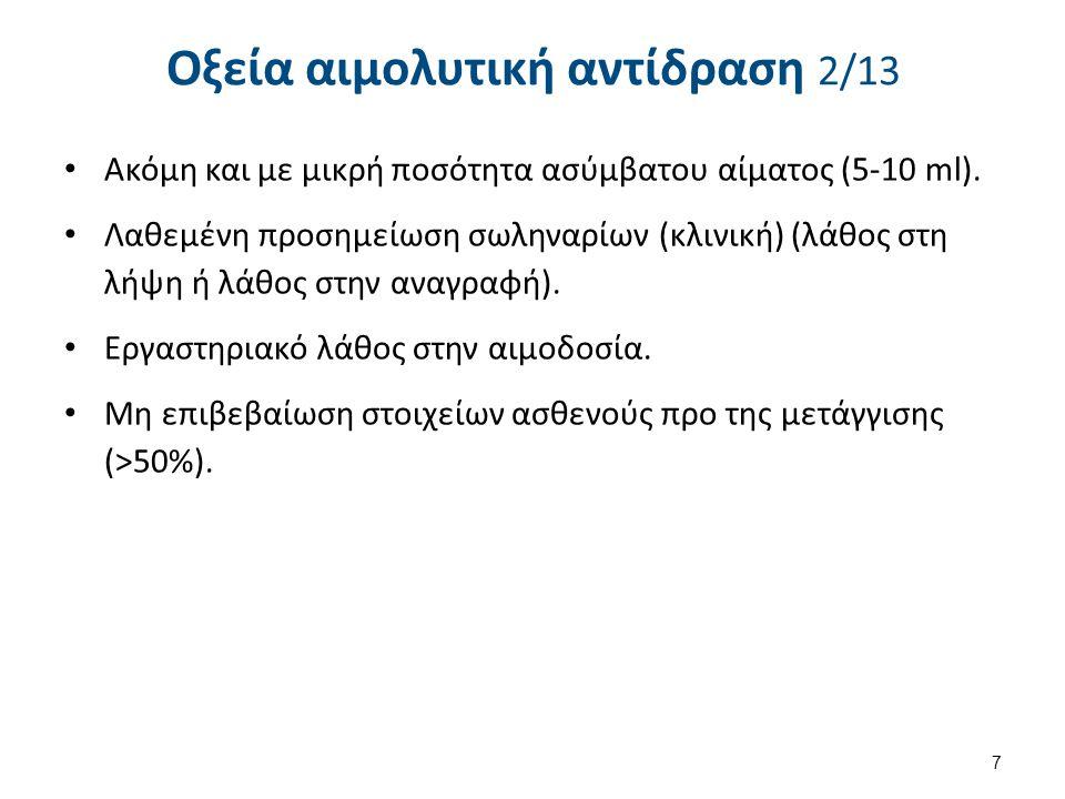 Οξεία αιμολυτική αντίδραση 10/13 Θεραπεία Άμεση έναρξη διούρησης.