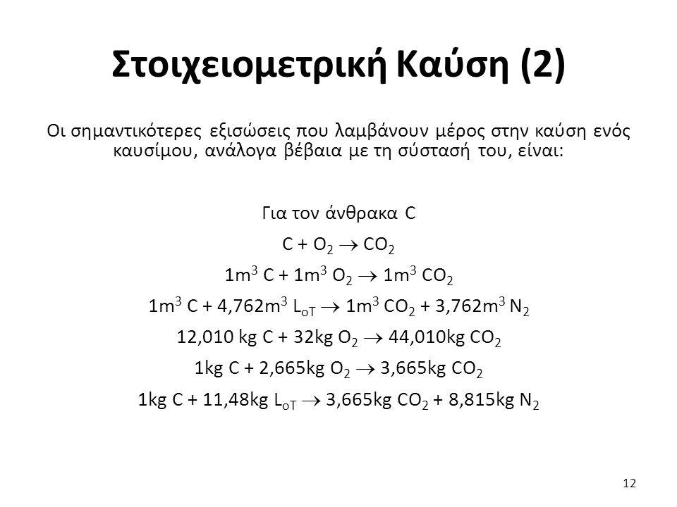 Στοιχειομετρική Καύση (2) Οι σημαντικότερες εξισώσεις που λαμβάνουν μέρος στην καύση ενός καυσίμου, ανάλογα βέβαια με τη σύστασή του, είναι: Για τον άνθρακα C C + O 2  CO 2 1m 3 C + 1m 3 O 2  1m 3 CO 2 1m 3 C + 4,762m 3 L oΤ  1m 3 CO 2 + 3,762m 3 N 2 12,010 kg C + 32kg O 2  44,010kg CO 2 1kg C + 2,665kg O 2  3,665kg CO 2 1kg C + 11,48kg L oΤ  3,665kg CO 2 + 8,815kg N 2 12