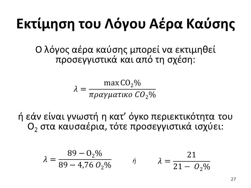 Εκτίμηση του Λόγου Αέρα Καύσης Ο λόγος αέρα καύσης μπορεί να εκτιμηθεί προσεγγιστικά και από τη σχέση: ή εάν είναι γνωστή η κατ' όγκο περιεκτικότητα του Ο 2 στα καυσαέρια, τότε προσεγγιστικά ισχύει: 27 ή
