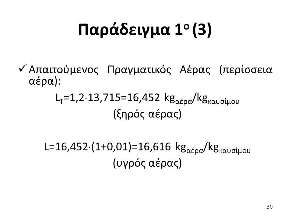 Παράδειγμα 1 ο (3) Απαιτούμενος Πραγματικός Αέρας (περίσσεια αέρα): L T =1,2  13,715=16,452 kg αέρα /kg καυσίμου (ξηρός αέρας) L=16,452  (1+0,01)=16,616 kg αέρα /kg καυσίμου (υγρός αέρας) 30