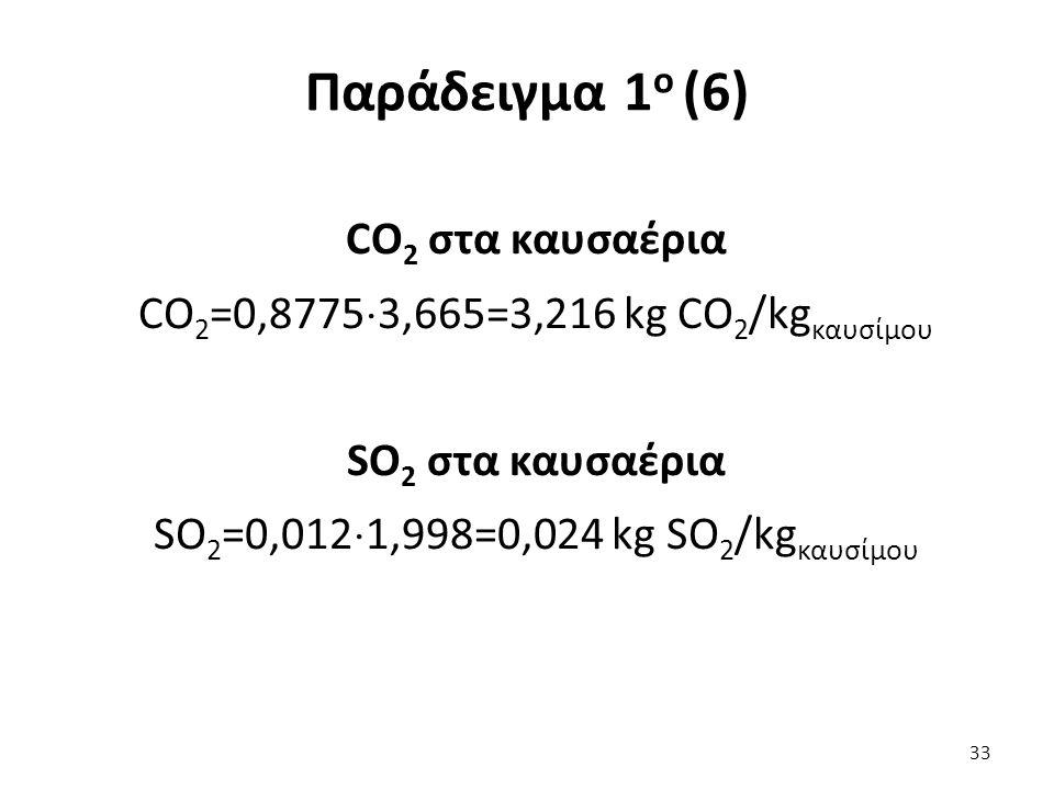 Παράδειγμα 1 ο (6) CO 2 στα καυσαέρια CO 2 =0,8775  3,665=3,216 kg CO 2 /kg καυσίμου SO 2 στα καυσαέρια SO 2 =0,012  1,998=0,024 kg SO 2 /kg καυσίμου 33