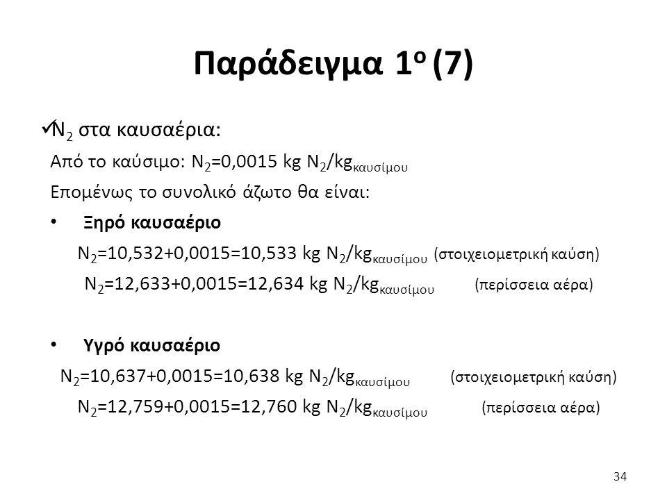 Παράδειγμα 1 ο (7) N 2 στα καυσαέρια: Από το καύσιμο: Ν 2 =0,0015 kg Ν 2 /kg καυσίμου Επομένως το συνολικό άζωτο θα είναι: Ξηρό καυσαέριο Ν 2 =10,532+0,0015=10,533 kg Ν 2 /kg καυσίμου (στοιχειομετρική καύση) Ν 2 =12,633+0,0015=12,634 kg Ν 2 /kg καυσίμου (περίσσεια αέρα) Υγρό καυσαέριο Ν 2 =10,637+0,0015=10,638 kg Ν 2 /kg καυσίμου (στοιχειομετρική καύση) Ν 2 =12,759+0,0015=12,760 kg Ν 2 /kg καυσίμου (περίσσεια αέρα) 34