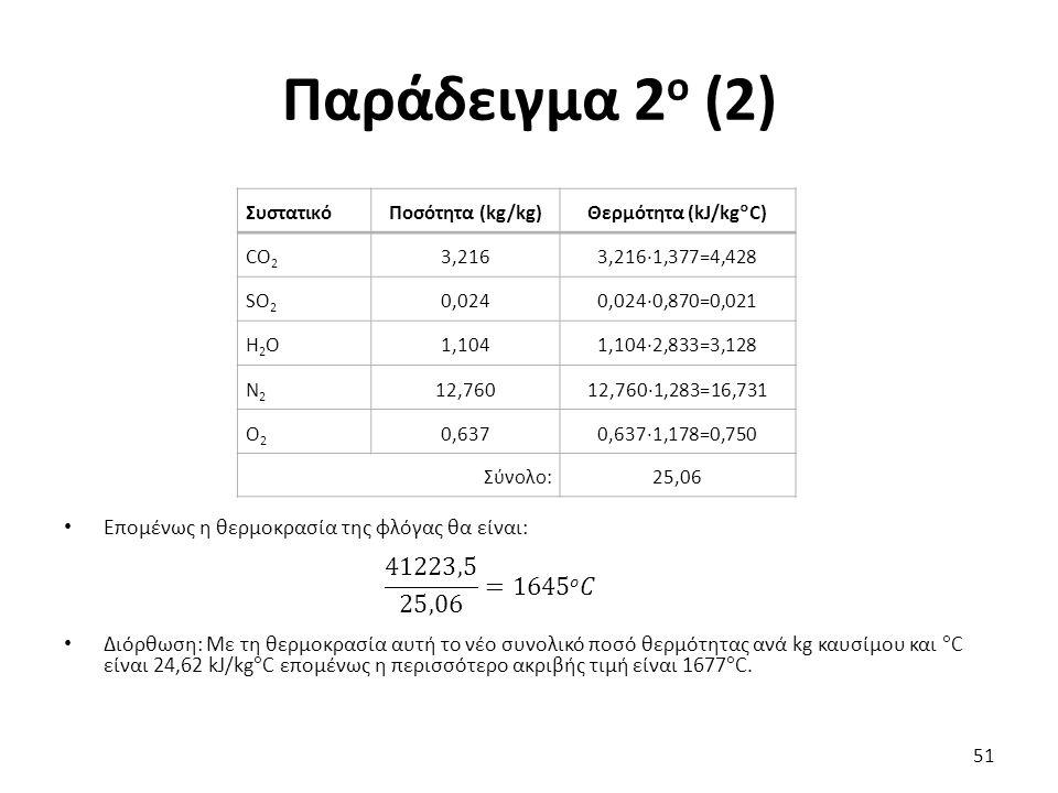 Παράδειγμα 2 ο (2) Επομένως η θερμοκρασία της φλόγας θα είναι: Διόρθωση: Με τη θερμοκρασία αυτή το νέο συνολικό ποσό θερμότητας ανά kg καυσίμου και  C είναι 24,62 kJ/kg  C επομένως η περισσότερο ακριβής τιμή είναι 1677  C.