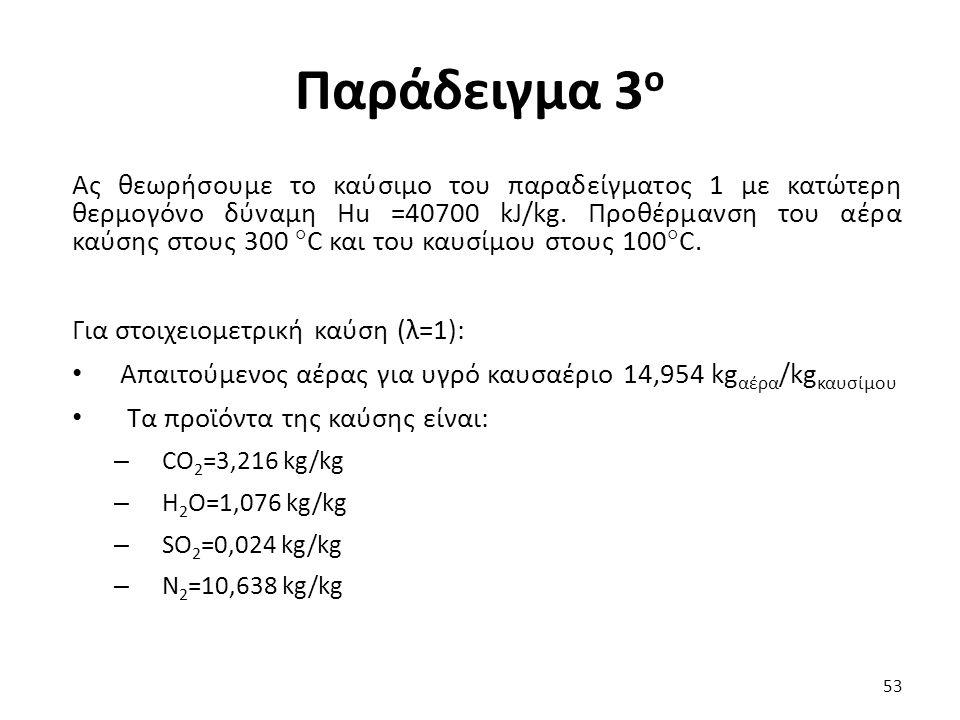 Παράδειγμα 3 ο Ας θεωρήσουμε το καύσιμο του παραδείγματος 1 με κατώτερη θερμογόνο δύναμη Hu =40700 kJ/kg.