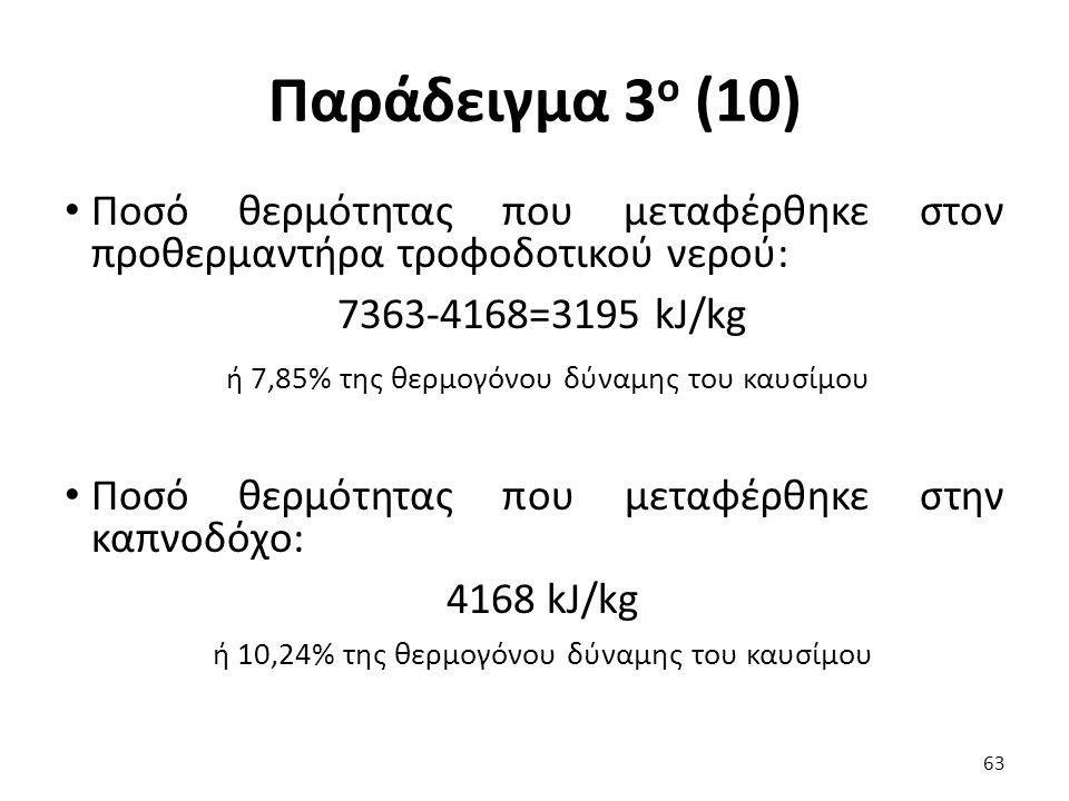 Παράδειγμα 3 ο (10) Ποσό θερμότητας που μεταφέρθηκε στον προθερμαντήρα τροφοδοτικού νερού: 7363-4168=3195 kJ/kg ή 7,85% της θερμογόνου δύναμης του καυσίμου Ποσό θερμότητας που μεταφέρθηκε στην καπνοδόχο: 4168 kJ/kg ή 10,24% της θερμογόνου δύναμης του καυσίμου 63
