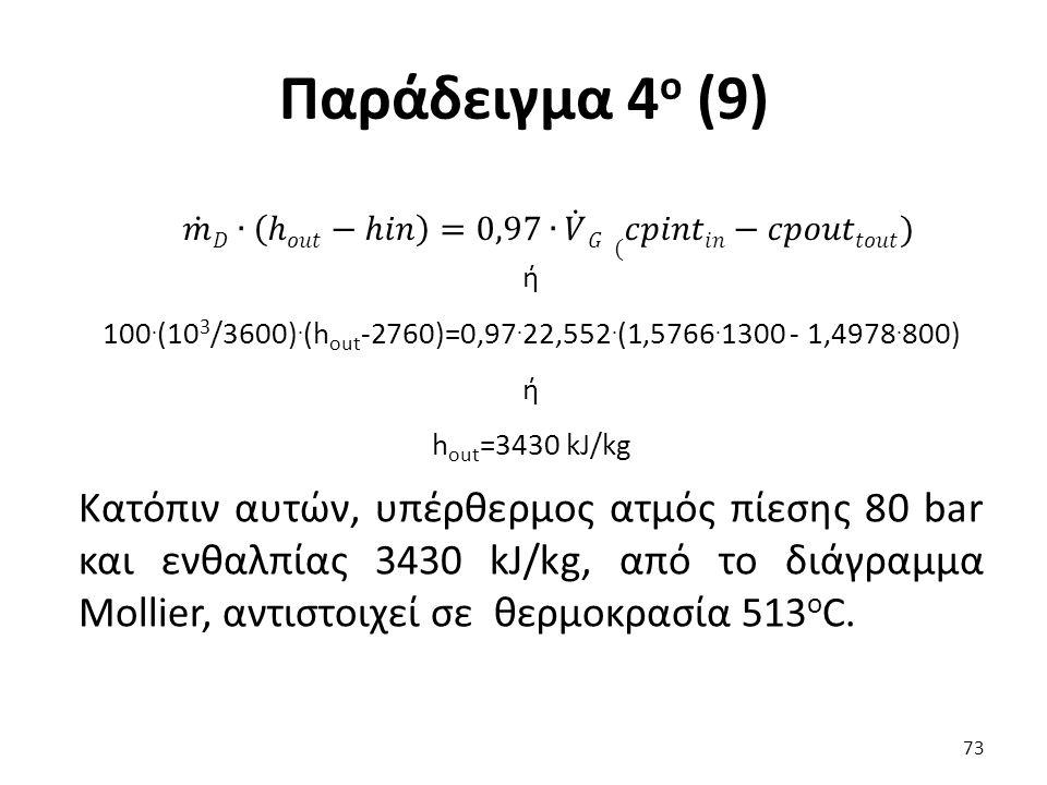 Παράδειγμα 4 ο (9) ή 100. (10 3 /3600). (h out -2760)=0,97.
