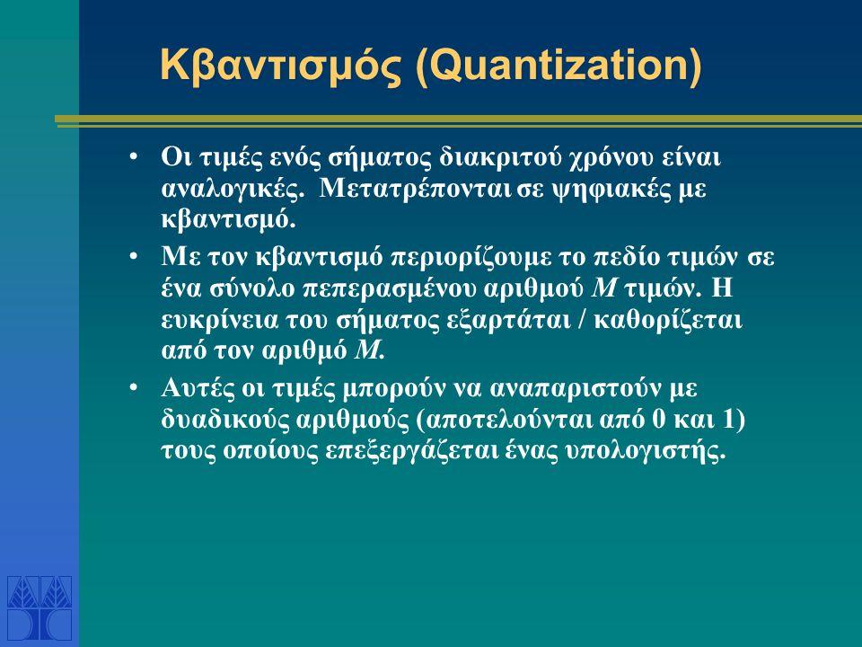 Κβαντισμός (Quantization) Οι τιμές ενός σήματος διακριτού χρόνου είναι αναλογικές. Μετατρέπονται σε ψηφιακές με κβαντισμό. Με τον κβαντισμό περιορίζου