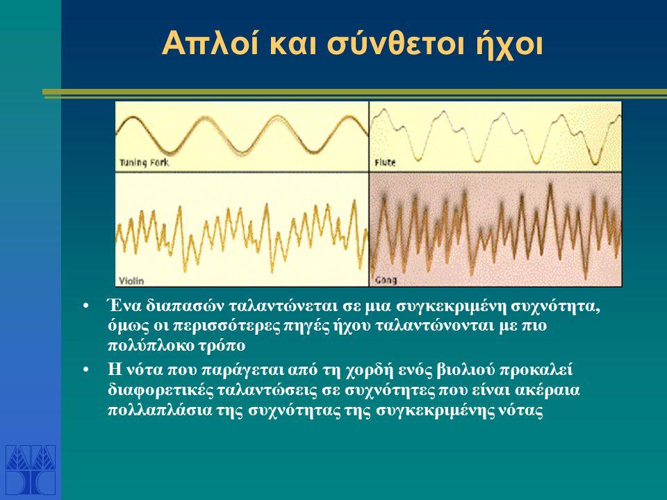 Απλοί και σύνθετοι ήχοι Ένα διαπασών ταλαντώνεται σε μια συγκεκριμένη συχνότητα, όμως οι περισσότερες πηγές ήχου ταλαντώνονται με πιο πολύπλοκο τρόπο Η νότα που παράγεται από τη χορδή ενός βιολιού προκαλεί διαφορετικές ταλαντώσεις σε συχνότητες που είναι ακέραια πολλαπλάσια της συχνότητας της συγκεκριμένης νότας