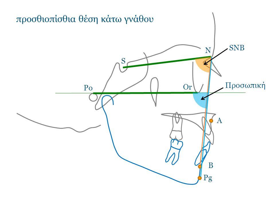 SNB Προσωπική προσθιοπίσθια θέση κάτω γνάθου N S Po Or A B Pg