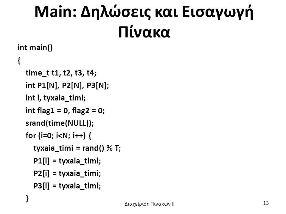 Main: Δηλώσεις και Εισαγωγή Πίνακα int main() { time_t t1, t2, t3, t4; int P1[N], P2[N], P3[N]; int i, tyxaia_timi; int flag1 = 0, flag2 = 0; srand(time(NULL)); for (i=0; i<N; i++) { tyxaia_timi = rand() % T; P1[i] = tyxaia_timi; P2[i] = tyxaia_timi; P3[i] = tyxaia_timi; } Διαχείριση Πινάκων ΙΙ 13