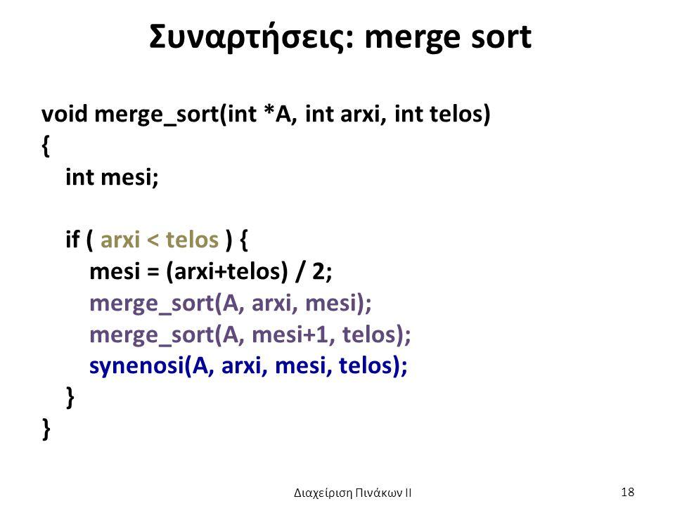 Συναρτήσεις: merge sort void merge_sort(int *A, int arxi, int telos) { int mesi; if ( arxi < telos ) { mesi = (arxi+telos) / 2; merge_sort(A, arxi, mesi); merge_sort(A, mesi+1, telos); synenosi(A, arxi, mesi, telos); } Διαχείριση Πινάκων ΙΙ 18