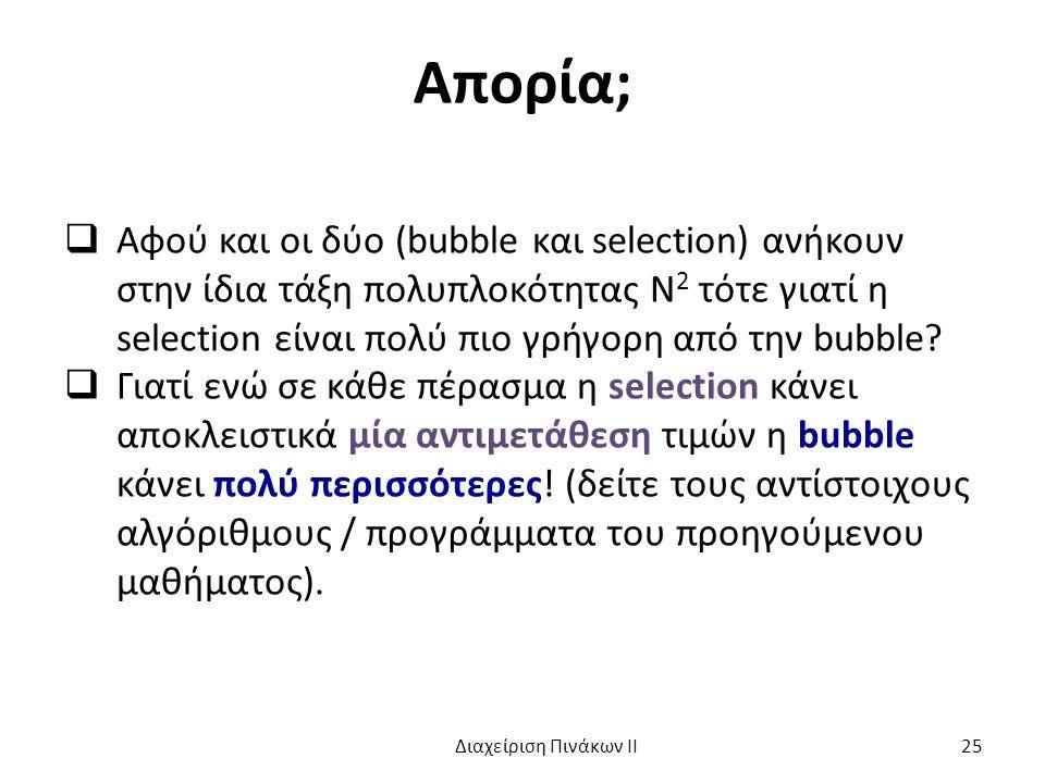 Απορία;  Αφού και οι δύο (bubble και selection) ανήκουν στην ίδια τάξη πολυπλοκότητας Ν 2 τότε γιατί η selection είναι πολύ πιο γρήγορη από την bubble.