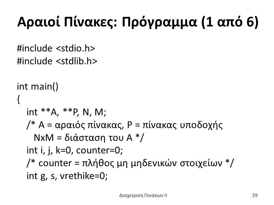 Αραιοί Πίνακες: Πρόγραμμα (1 από 6) #include int main() { int **A, **P, N, M; /* A = αραιός πίνακας, P = πίνακας υποδοχής ΝxM = διάσταση του A */ int i, j, k=0, counter=0; /* counter = πλήθος μη μηδενικών στοιχείων */ int g, s, vrethike=0; Διαχείριση Πινάκων ΙΙ 39