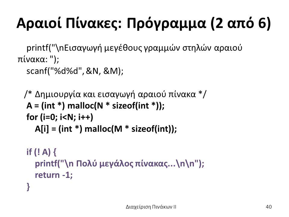 Αραιοί Πίνακες: Πρόγραμμα (2 από 6) printf( \nΕισαγωγή μεγέθους γραμμών στηλών αραιού πίνακα: ); scanf( %d%d , &N, &M); /* Δημιουργία και εισαγωγή αραιού πίνακα */ A = (int *) malloc(N * sizeof(int *)); for (i=0; i<N; i++) A[i] = (int *) malloc(M * sizeof(int)); if (.