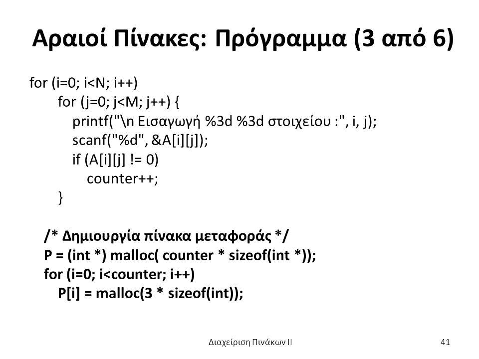 Αραιοί Πίνακες: Πρόγραμμα (3 από 6) for (i=0; i<N; i++) for (j=0; j<M; j++) { printf( \n Εισαγωγή %3d %3d στοιχείου : , i, j); scanf( %d , &A[i][j]); if (A[i][j] != 0) counter++; } /* Δημιουργία πίνακα μεταφοράς */ P = (int *) malloc( counter * sizeof(int *)); for (i=0; i<counter; i++) P[i] = malloc(3 * sizeof(int)); Διαχείριση Πινάκων ΙΙ 41