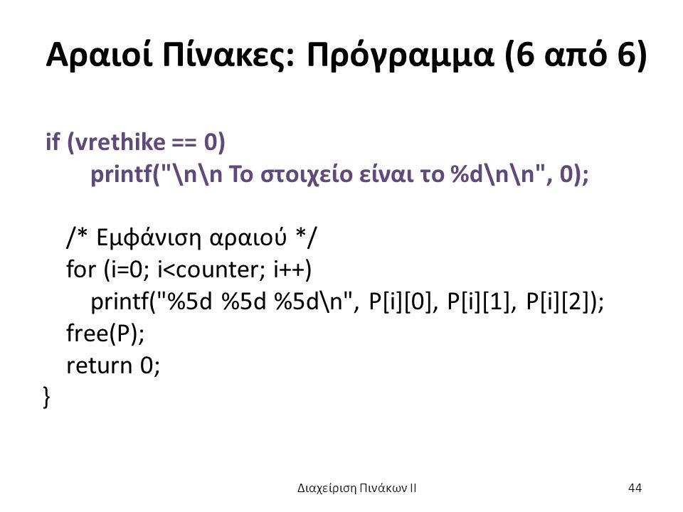 Αραιοί Πίνακες: Πρόγραμμα (6 από 6) if (vrethike == 0) printf( \n\n Το στοιχείο είναι το %d\n\n , 0); /* Εμφάνιση αραιού */ for (i=0; i<counter; i++) printf( %5d %5d %5d\n , P[i][0], P[i][1], P[i][2]); free(P); return 0; } Διαχείριση Πινάκων ΙΙ 44