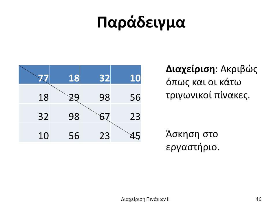 Παράδειγμα 77183210 18299856 32986723 10562345 Διαχείριση: Ακριβώς όπως και οι κάτω τριγωνικοί πίνακες.