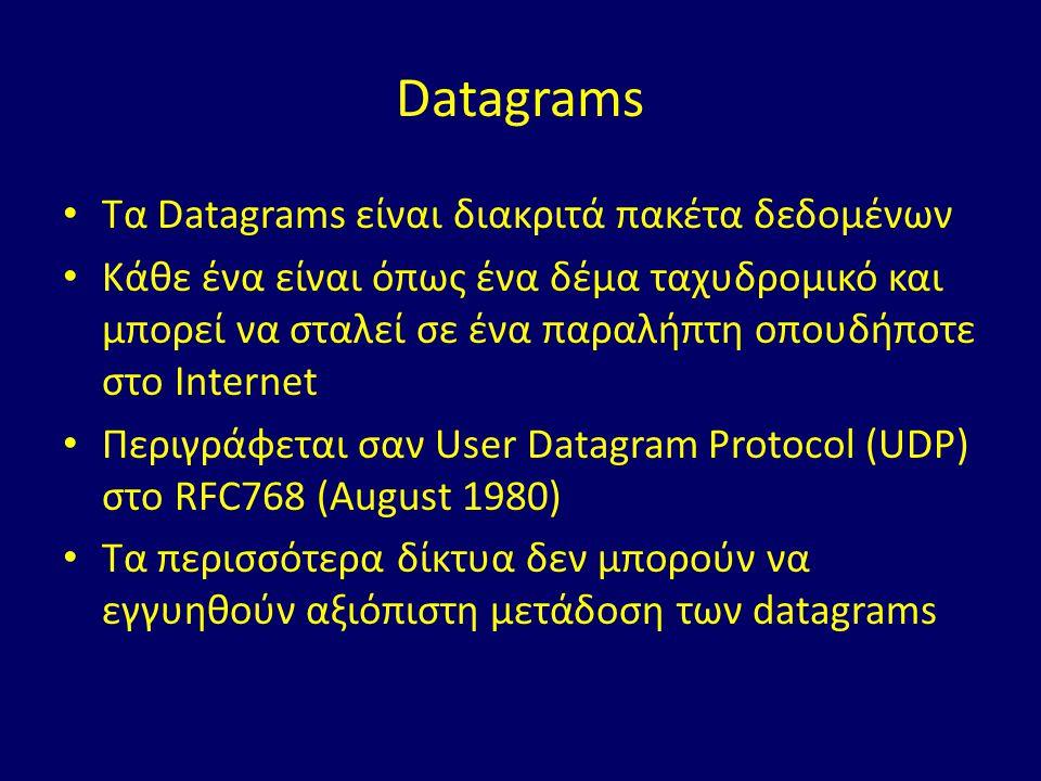 Datagrams Τα Datagrams είναι διακριτά πακέτα δεδομένων Κάθε ένα είναι όπως ένα δέμα ταχυδρομικό και μπορεί να σταλεί σε ένα παραλήπτη οπουδήποτε στο Internet Περιγράφεται σαν User Datagram Protocol (UDP) στο RFC768 (August 1980) Τα περισσότερα δίκτυα δεν μπορούν να εγγυηθούν αξιόπιστη μετάδοση των datagrams