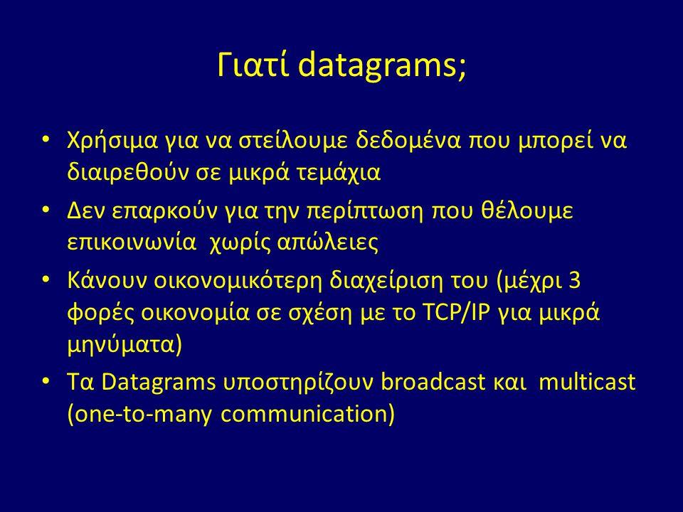 Γιατί datagrams; Χρήσιμα για να στείλουμε δεδομένα που μπορεί να διαιρεθούν σε μικρά τεμάχια Δεν επαρκούν για την περίπτωση που θέλουμε επικοινωνία χωρίς απώλειες Κάνουν οικονομικότερη διαχείριση του (μέχρι 3 φορές οικονομία σε σχέση με το TCP/IP για μικρά μηνύματα) Τα Datagrams υποστηρίζουν broadcast και multicast (one-to-many communication)