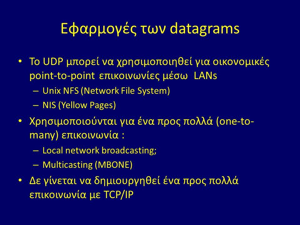 Εφαρμογές των datagrams Το UDP μπορεί να χρησιμοποιηθεί για οικονομικές point-to-point επικοινωνίες μέσω LANs – Unix NFS (Network File System) – NIS (Yellow Pages) Χρησιμοποιούνται για ένα προς πολλά (one-to- many) επικοινωνία : – Local network broadcasting; – Multicasting (MBONE) Δε γίνεται να δημιουργηθεί ένα προς πολλά επικοινωνία με TCP/IP