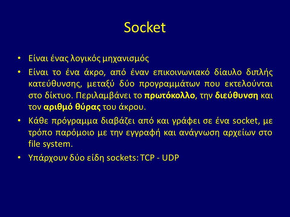 Δύο τύποι TCP Socket Η java.net.ServerSocket χρησιμοποιείται από servers ώστε να μπορούν να δέχονται εισερχόμενες συνδέσεις.